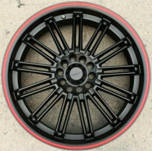 20 x 7.5 - Matte Black w/ Red Stripe Automotive Rims 20