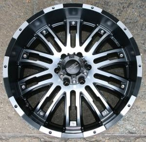 20 x 9.0 Inch Black w/ Machined Face - 6 Lug Automotive Rims - 20