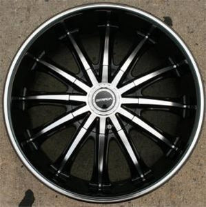 20 x 8.5 Inch Gloss Black w/ Machined Face & Bezel Automotive Rims - Set of Four