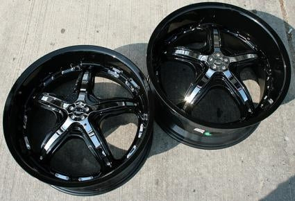 19 x 8.5 / 19 x 9.5 - Black w/ Chrome Inserts Automotive Rims 19