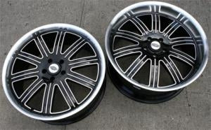 22 x 9.0 / 22 x 10.5 Inch Black w/ Machined Face & Lip Automotive Rims 22