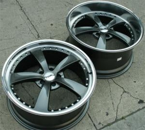 "19 x 8.0 / 19 x 9.5 Inch Gunmetal with Machined Lip Automotive Rims 19"" Wheels - Set of 4"