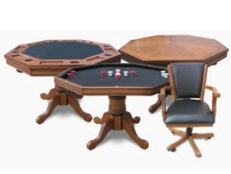 Walnut 3-IN-1 POKER TABLE WITH 4 CHAIRS