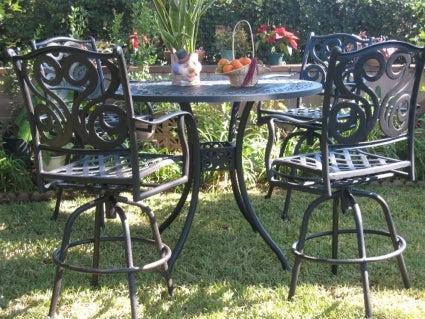 5pc Antique Black Bronze Aluminum Outdoor Patio Furniture Bar Set