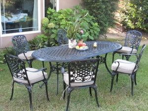 7pc Black Antique Bronze Cast Aluminum Outdoor Patio Furniture Dining Set
