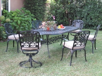 7pc Black Bronze Cast Aluminum Outdoor Patio Furniture Dining Set with 2 Swivel Chairs