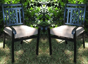 2pc Black Bronze Cast Aluminum Outdoor Patio Furniture Chair Set