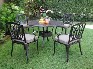 5pc Black Brown Aluminum Outdoor Patio Furniture Dining Set