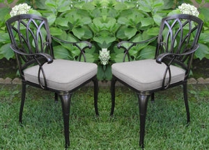 2pc Antique Black Bronze Cast Aluminum Outdoor Patio Furniture Chair Set