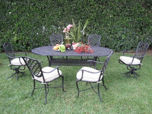 7pc Desert Brown Cast Aluminum Outdoor Patio Furniture Dining Set with 2 Swivel Chairs