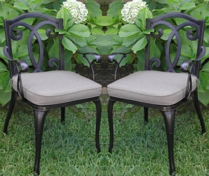 2pc Black Antique Bronze Cast Aluminum Outdoor Patio Furniture Chair Set
