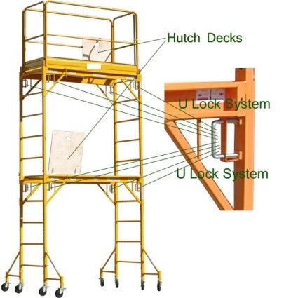 Brand New Heavy Duty 12' H Scaffold Rolling Tower with 2 Hatch Decks & Guardrail
