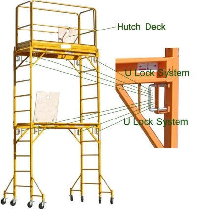 Brand New Heavy Duty 12' H Scaffold Rolling Tower with Hatch Deck & Guardrail
