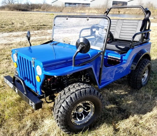 Blue Mini Gas Golf Cart jeep Mini Truck ELITE Edition - Lifted With Custom Rims And Fender Flares
