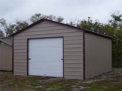 12' x 21' x 9' Boxed Eave Eco-Friendly Steel Carport w/ Enclosure & Roll Up Door - Installation Included