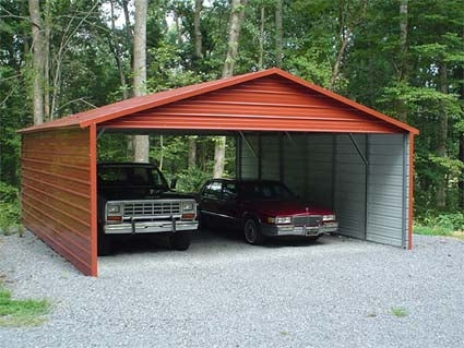 18' x 26' x 8' Boxed Eave Eco-Friendly Steel Carport w/ Closed Sides - Installation Included