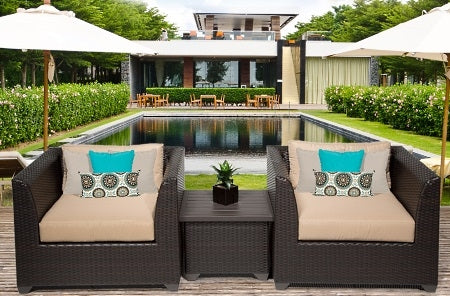Beach 3 Piece Outdoor Wicker Patio Furniture Set - 2017 Model