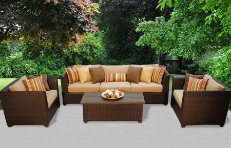 Beach 4 Piece Outdoor Wicker Patio Furniture Set - 2017 Model