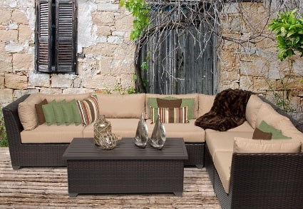 Beach 7 Piece Outdoor Wicker Patio Furniture Set - 2017 Model