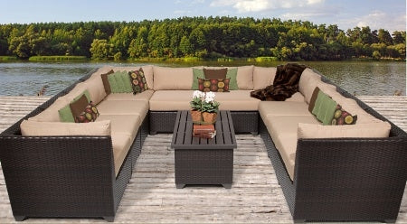 Beach 11 Piece Outdoor Wicker Patio Furniture Set - 2017 Model
