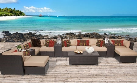 Beach 14 Piece Outdoor Wicker Patio Furniture Set - 2017 Model