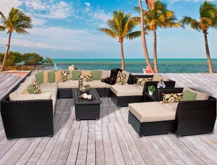 Cabana 13 Piece Outdoor Wicker Patio Furniture Set - 2017 Model