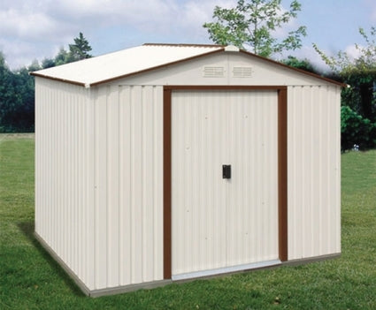 Duramax 10x8 Del Mar Metal Shed + Foundation - Brown Trim
