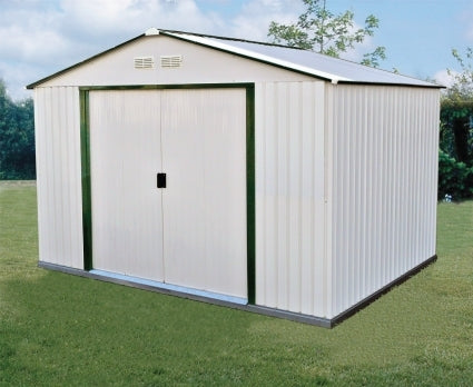Duramax 10x10 Del Mar Colossus Metal Shed + Foundation - Green Trim
