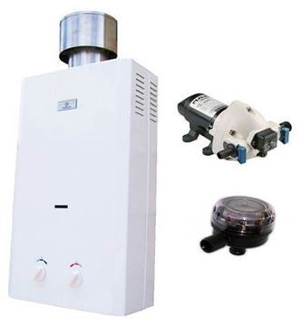Brand New Eccotemp L10 Water Heater, Flojet Pump & Strainer Tankless Water Heater Bundle