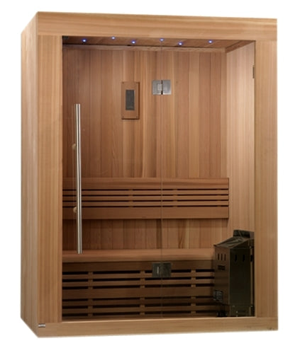 Sundsvall 2-3 Person Traditional Steam Sauna - Canadian Red Cedar with Built in FM Radio and Bluetooth Connection
