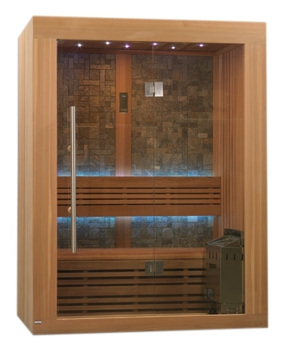 Vasteras Luxury Edition 2-3 Person Traditional Steam Sauna - Canadian Red Cedar with Built in FM Radio and Bluetooth Connection