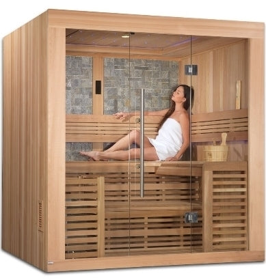 4-6 Person Sauna Traditional Steam Cedar, Bergen Luxury Edition - Built in FM Radio and Bluetooth Connection