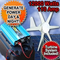 Solar Power Generator Wind Hybrid 12000 Watt 110 Amp With Wind Turbine System