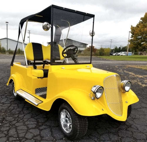 1934 Old Roadster Car 48v Custom Club Car Golf Cart - YELLOW