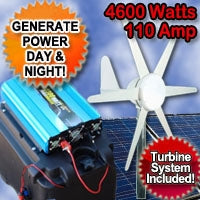 Solar Power Generator Wind Hybrid 4600 Watt 110 Amp With Wind Turbine System