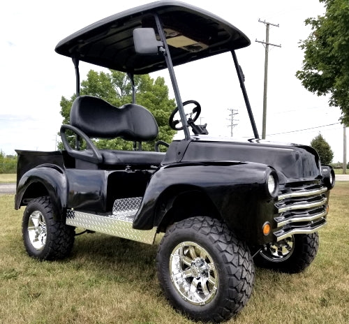 Black Custom 47' Old Truck Gas Golf Cart Club Car Precedent With Lift Kit & Custom Rims, Radio & Street Legal Package