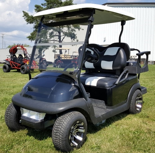 48V Black Custom Golf Cart Electric Club Car Precedent w/ Genesis 250 Rear Flip with Cooler & Rear Storage