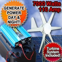 Solar Power Generator Wind Hybrid 7000 Watt 110 Amp With Wind Turbine System