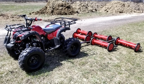 125cc Atv With Mower 5 Gang Unit Lawn Muncher - Old Fashioned 82