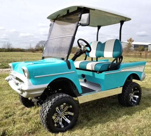 Lifted 57 Chevy Golf Cart Club Car Precedent With Custom Rims, Radio, Seats & More