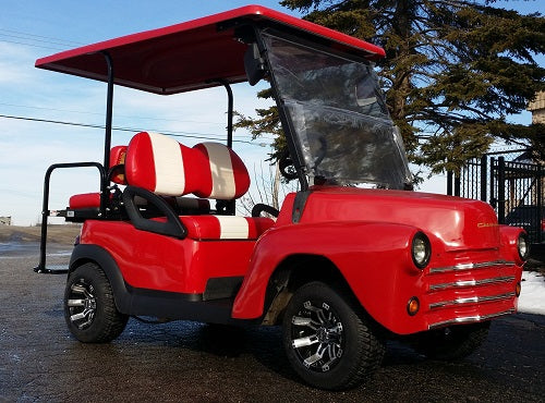 47' Old Truck Cherry Red 48v Electric Custom Club Car Golf Cart
