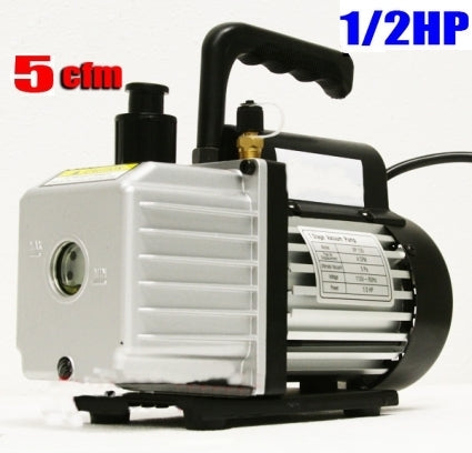 1/2HP 5CFM Single Stage Vacuum Pump w/ HVAC A/C Refrigeration Gauge Set & a Free Bottle Vacuum Oil