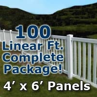 100 ft Complete Solid PVC Vinyl Closed Top Picket Fencing Package - 4' x 6' Fence Panels w/ 3