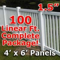 100 ft Complete Solid PVC Vinyl Closed Top Picket Fencing Package - 4' x 6' Fence Panels w/ 1.5