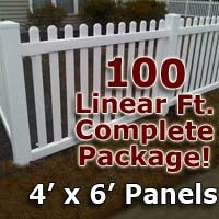 100 ft Complete Solid PVC Vinyl Open Top Picket Fencing Package - 4' x 6' Fence Panels w/ 3