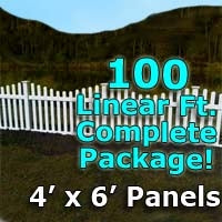 100 ft Complete Solid PVC Vinyl Open Top Scallop Picket Fencing Package - 4' x 6' Fence Panels w/ 3