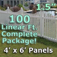 100 ft Complete Solid PVC Vinyl Open Top Scallop Picket Fencing Package - 4' x 6' Fence Panels w/ 1.5