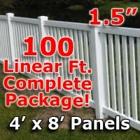 100 ft Complete Solid PVC Vinyl Closed Top Picket Fencing Package - 4' x 8' Fence Panels w/ 1.5