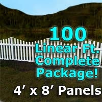 100 ft Complete Solid PVC Vinyl Open Top Scallop Picket Fencing Package - 4' x 8' Fence Panels w/ 3