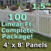 100 ft Complete Solid PVC Vinyl Open Top Scallop Picket Fencing Package - 4' x 8' Fence Panels w/ 1.5